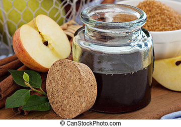 manzana, jarabe, canela, especias