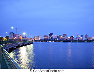 Boston Back Bay After Sunset - View of the Back Bay Boston...