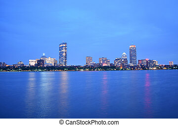 Boston City Lights - View of the Back Bay Boston Skyline...