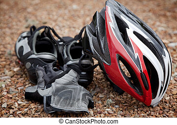 Bicycling Gear - Still life arrangement of bicycling safety...