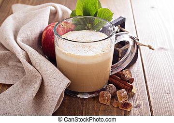 manzana, Pastel, latte, canela, jarabe