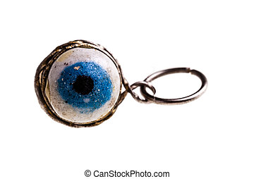Eye pendant - a turkish eye talisman isolated over a white...