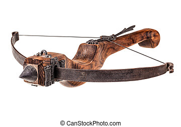 Old Crossbow - an ancient medieval crossbow isolated over a...