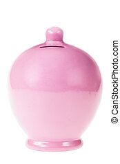 Money box - a pink clay money box isolated over a white...