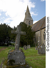 Rural church - A rural church with graveyard and head stones
