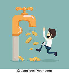 Money coins fall out of golden faucet , eps10 vector format
