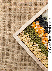 Mixture of dried lentils, peas, Grains, beans background