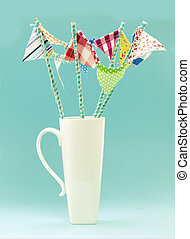 Flags on a Turquiose Retro - White Mug With Handmade...