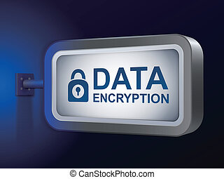 data encryption words on billboard over blue background