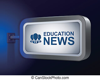 education news words on billboard