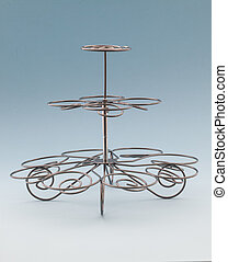 Cup Cake Stand - Wire Cup Cake Stand on a Light Blue...