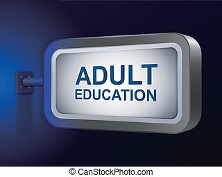 adult education words on billboard over blue background