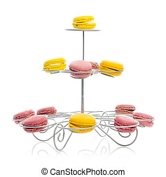 Macaroons on retro cake stand - Plate of French Macaroons on...