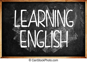 Learning English title on Language School Blackboard...