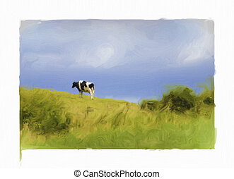 oil painting of dairy cow - oil painting of black and white...