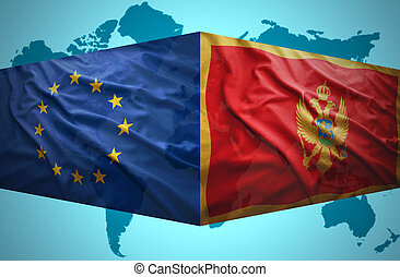 Waving Montenegrin and European Union flags