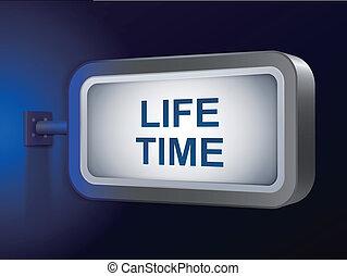 lifetime words on billboard over blue background