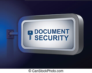 document security words on billboard over blue background