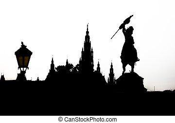 Vienna cityscape silhouette with monument dedicated to...