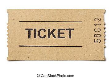 Simple paper ticket isolated on white