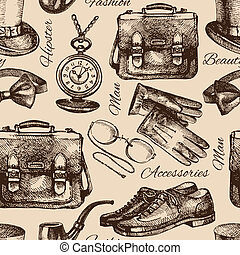 Gentlemen accessories. Hand drawn hipster seamless pattern -...