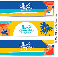 Set of summer banners with beautiful women silhouettes at...