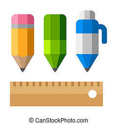 Drafting Tools on White Background. School Equipment Icons - Pen, Pencils and Ruler. Flat Vector Style
