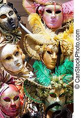 vario, carnaval, máscaras, diferente, Color