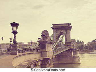 Secheni Bridge in Budapest in the early summer morning,...