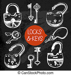Hand drawn sketch locks and keys set Vector illustration...