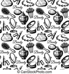 Beauty seamless pattern Cosmetic accessories Vintage hand...