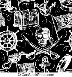 Hand drawn pirate seamless pattern. Sketch vector illustration