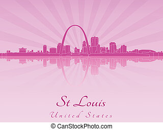 St Louis skyline in purple radiant orchid - St Louis skyline...