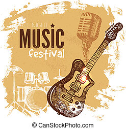 Music vintage background. Splash blob retro design. Music...