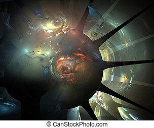 space fractal - green, blue and red space age fractal design...
