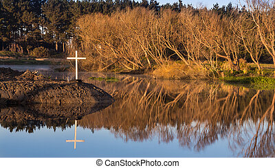 White Cross of Winter - Still waters of the Foxton river...