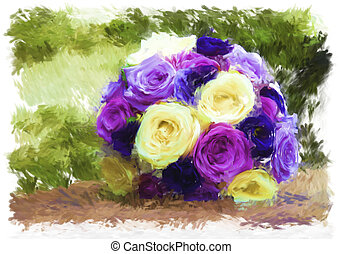 posy of roses - hand painted acrylic of a round posy of...