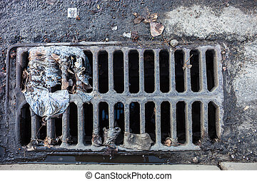 Drain grate with the garbage on it