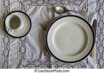 18th Century table ware place setting - 18th Century...