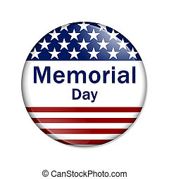 Memorial Day Button , A white button red stripes and stars...