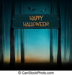 Happy Halloween - Dark forest, happy Halloween, eps 10