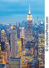 New York City skyline dusk USA - New York City skyline with...
