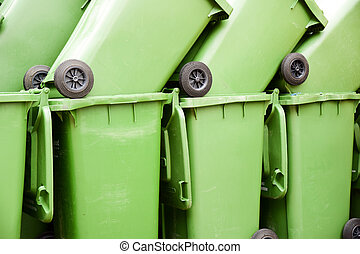 bins - stacked green garbage bins for organic waste