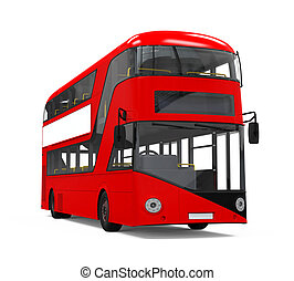 Double Decker Bus isolated on white background 3D render
