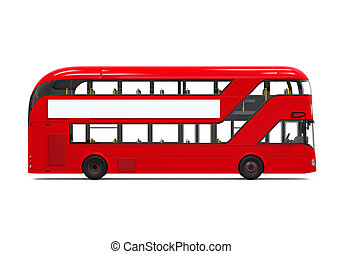 Double Decker Bus isolated on white background. 3D render