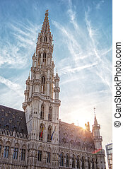 Grand Place, Brussels, Belgium - Grand Place on sunset in...