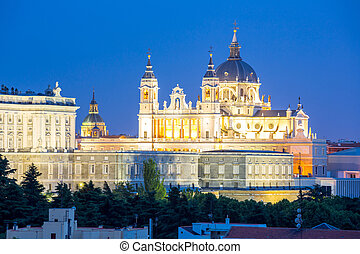 Madrid, Almudena Cathedral and palace at dusk spain