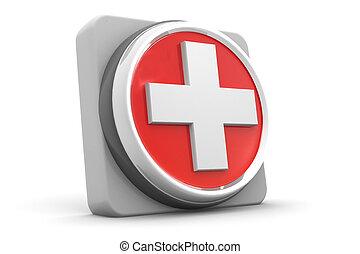 botão, ajuda, médico, primeiro