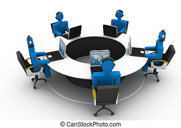 3d people working on office , roundtable