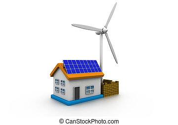 3d home with solar energy panels and wind turbine